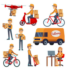 Cute cartoon courier characters with vector