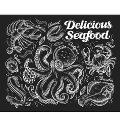 Delicious seafood hand drawn sketch octopus crab vector