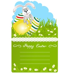 Easter bunny with colorful eggs vector image vector image