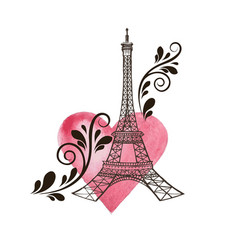 Eiffel tower and heart vector
