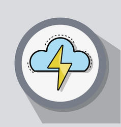 Flat line icon thunderstorm weather vector