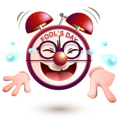 Fun clock laughs fools day vector