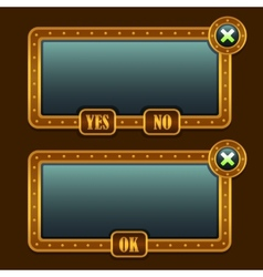 Game steampunk menu interface panels vector