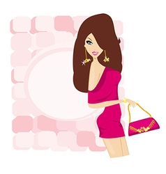 glamour fashion sexy girl with shopping bag card vector image