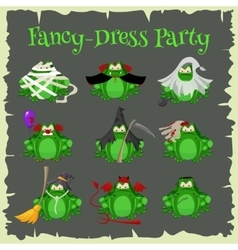 Halloween green toads fashion costume outfits vector