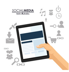 hand hold tablet social media communication vector image