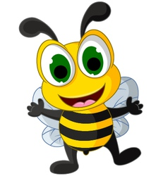 happy little bee cartoon vector image vector image
