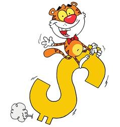 Happy Tiger Riding On A Dollar Symbol vector image