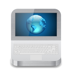 Laptop with earth on display vector