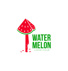 logo template with stylized watermelon piece stuck vector image