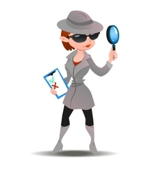 Mystery shopper woman in spy coat vector