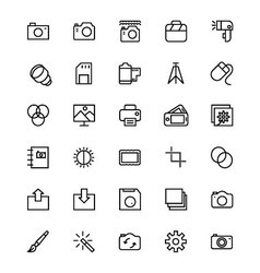 Photography line icons 1 vector