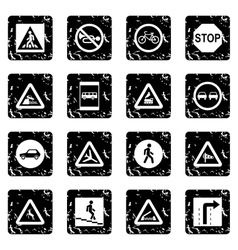 Road sign set set icons grunge style vector