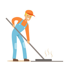 road worker levelling asphalt with rake part of vector image vector image
