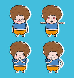 Set boy with charater faces message vector