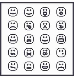 set of black line cartoon emoji face icons vector image vector image