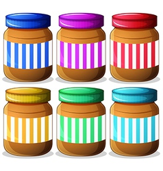 Six jars of peanut butters vector image