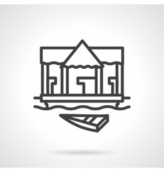 Village jetty black simple line icon vector image