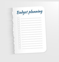 White sheet with inscription budget planning leaf vector