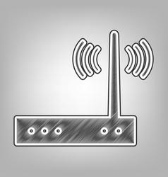 Wifi modem sign pencil sketch imitation vector