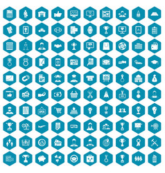 100 business career icons sapphirine violet vector image vector image