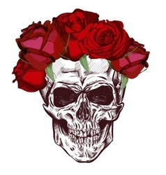 Skull and roses sketch with gradation effect vector