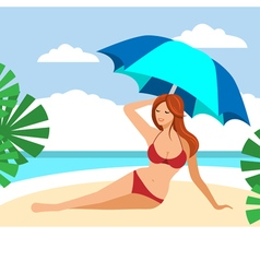 Hot brown hair girl on a beach under umbrella vector