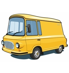 Cartoon yellow delivery van vector