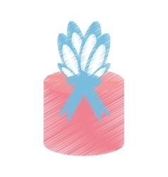 Drawing gift box wrapped paper bow vector