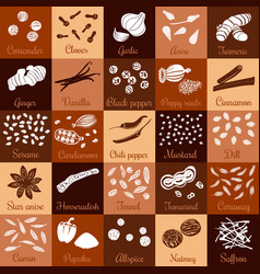 Spices hand drawn big icon squared set vector