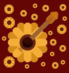 Dark red background with guitar in form of vector
