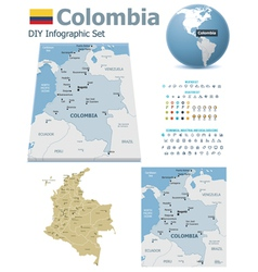 Colombia maps with markers vector