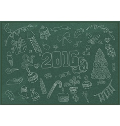 2016 year hand lettering and doodles elements vector image