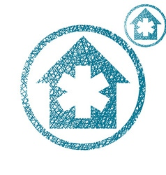Hospital simple single color icon isolated on vector image