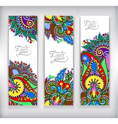 Set of decorative flower template banner card vector