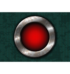 Rusty metal circle with red lamp vector