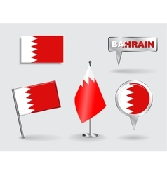Set of bahrain pin icon and map pointer flags vector