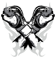 Martial arts gloves crossed vector