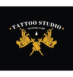Design of a logo with a tattoo machines vector