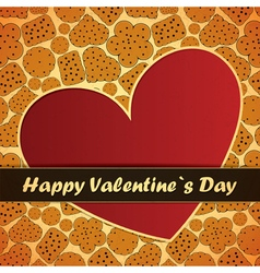 Valentine day card with heart and cookies vector