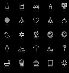 Zen society line icons with reflect on black vector
