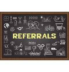 Referrals on chalkboard vector image