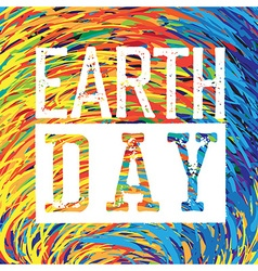 Earth day logo grunge texture in separate layer vector