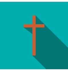 Christian cross icon in flat style vector