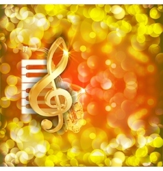 Treble clef and a saxophone piano keys bright vector
