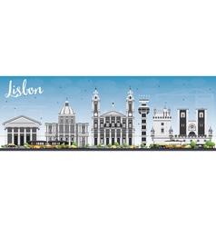 Lisbon skyline with gray buildings and blue sky vector
