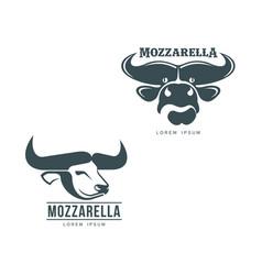 Buffalo mozzarella italian cheese brand logo icon vector