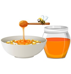 Cereal with honey in bowl vector