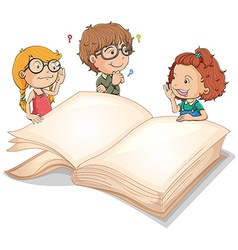 Children and giant book vector image vector image