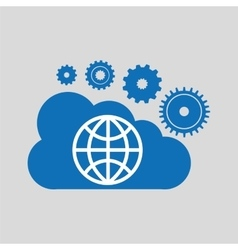 cloud network globe earth connection design vector image